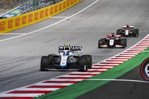 Nicholas Latifi, Williams FW43. Romain Grosjean, Haas VF-20 and Kimi Raikkonen, Alfa Romeo Racing C39