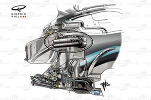 Dettaglio del telaio Mercedes AMG F1 W10