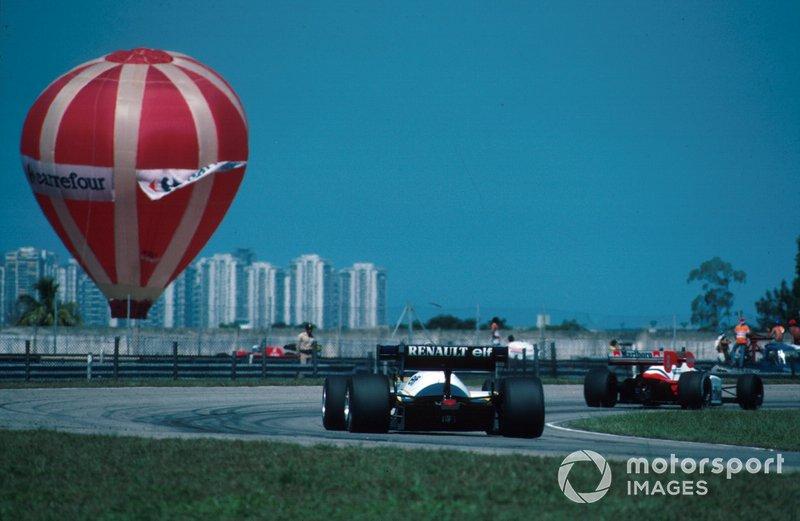 Renault chases the Mclaren MP4-2 of Winner Niki Lauda
