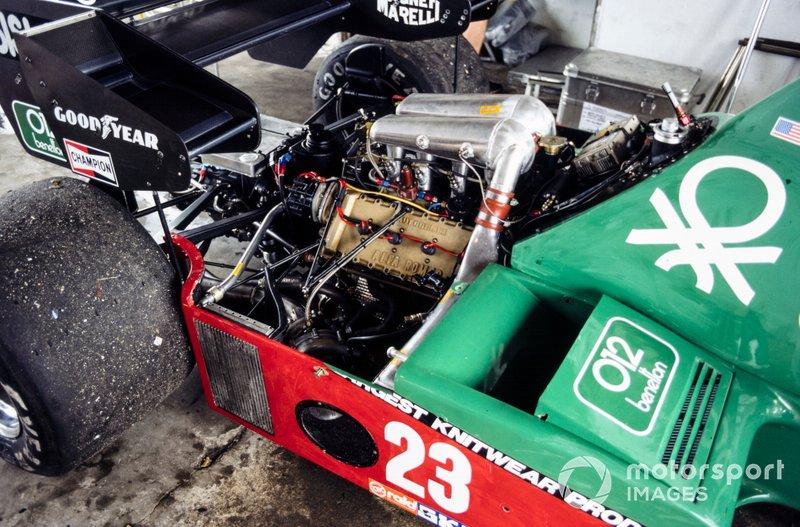Engine detail on Eddie Cheever's Alfa Romeo 184T
