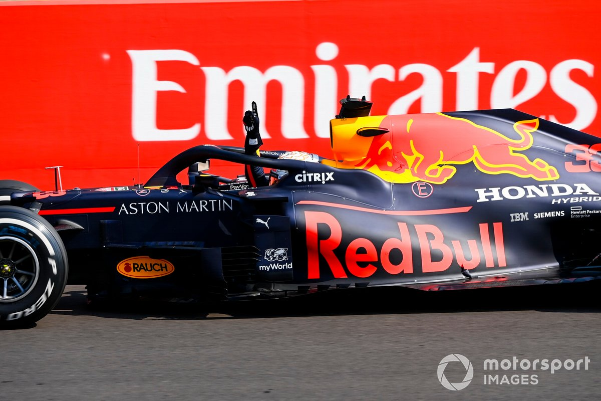 Race Winner Max Verstappen, Red Bull Racing RB16 crosses the finish line