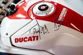 Autograph on a Ducati bike