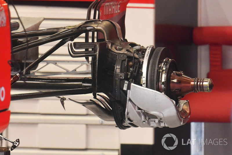 Ferrari SF71H rear wheel hub and brake detail