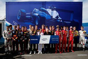 Group photo with Jean Todt, FIA president with his wife and all drivers