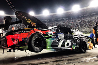 The wrecked car of Martin Truex Jr., Furniture Row Racing, Toyota Camry Bass Pro Shops/Ducks Unlimited