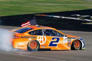Brad Keselowski, Team Penske, Ford Fusion Autotrader celebrates his win with a burnout