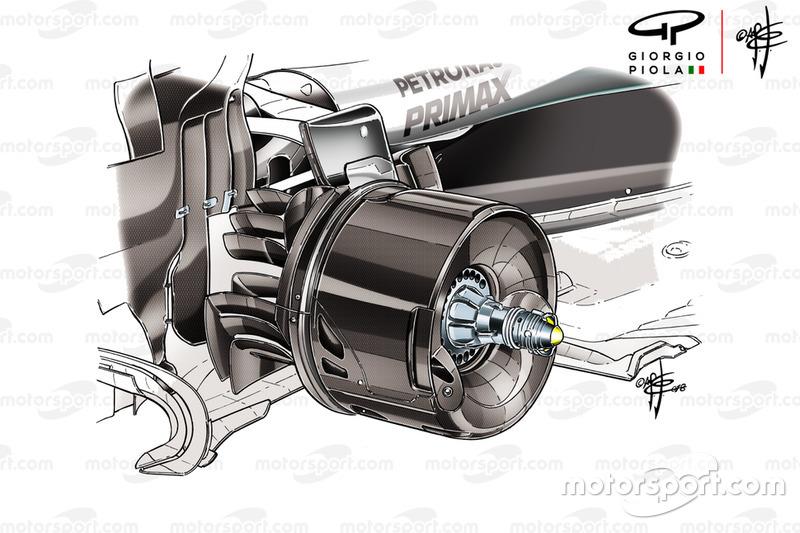 El conducto de freno trasero en el Mercedes AMG F1 W09