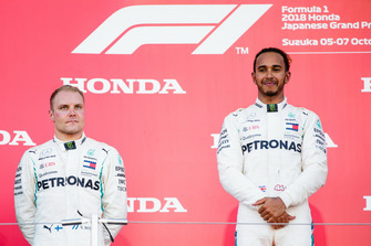 Second place Valtteri Bottas, Mercedes AMG F1, and Race winner Lewis Hamilton, Mercedes AMG F1, on he podium