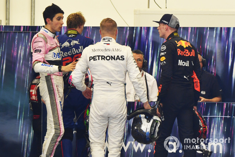 Max Verstappen, Red Bull Racing and Esteban Ocon, Racing Point Force India