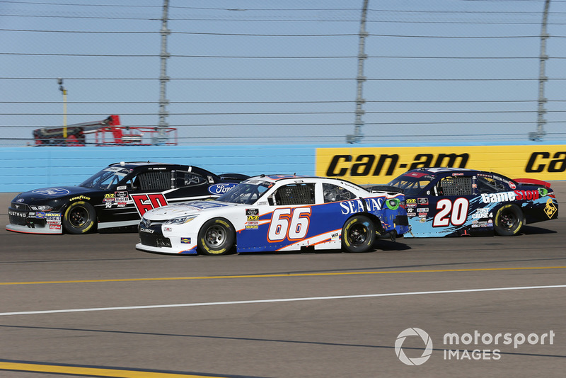 Ty Majeski, Roush Fenway Racing, Ford Mustang Ford, Akinori Ogata, Motorsports Business Management, Toyota Camry and Christopher Bell, Joe Gibbs Racing, Toyota Camry GameStop Just Cause 4