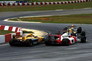 Риккардо Патрезе и Найджел Мэнселл, Williams FW14B Renault, Айртон Сенна, McLaren MP4/7A Honda, и Михаэль Шумахер, Benetton B191B Ford