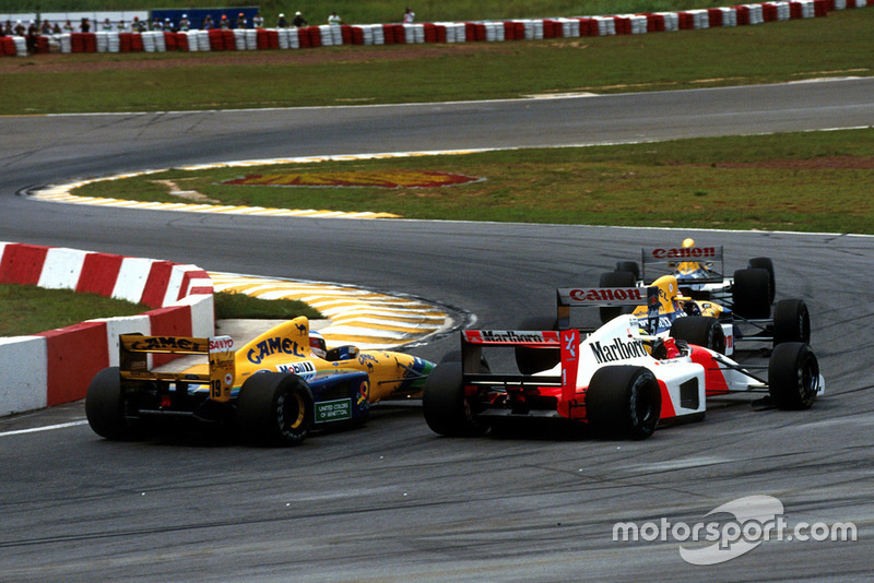 Riccardo Patrese, Williams FW14B, Nigel Mansell, Williams FW14B, Ayrton Senna, McLaren MP4/7A, Michael Schumacher, Benetton B191B