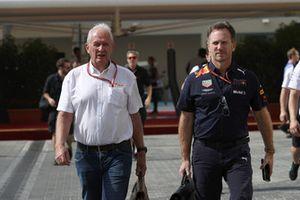 Dr Helmut Marko, Red Bull Motorsport Consultant en Christian Horner, teambaas Red Bull Racing