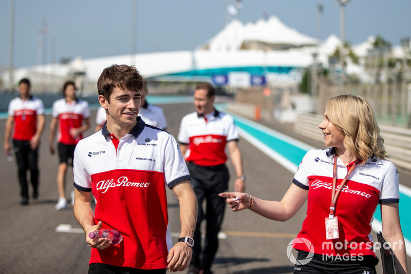 Charles Leclerc, Sauber walks the track with Ruth Buscombe, Sauber Race Strategist