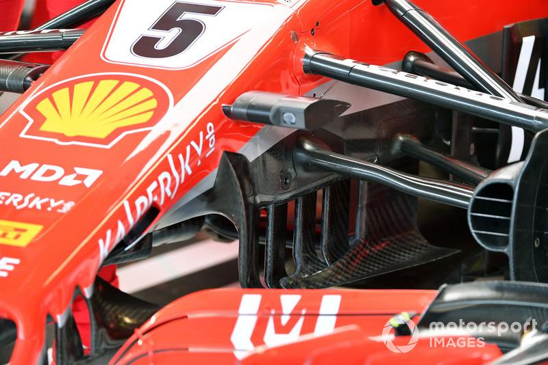 Vue détaillée de la suspension avant d'une Ferrari SF-71H