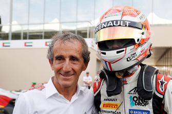 Anthoine Hubert, ART Grand Prix, celebrates with Alain Prost after winning the championship