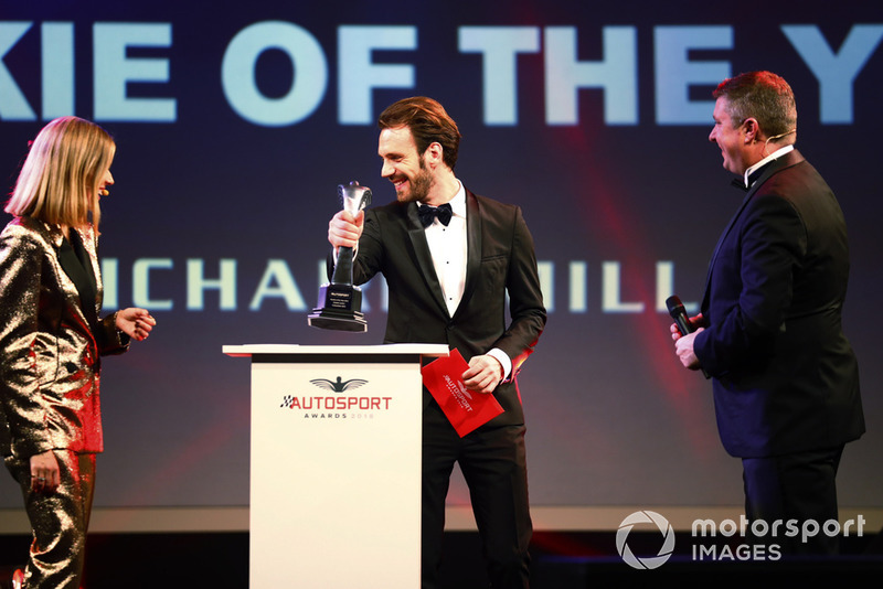 FIA Formula E Chamion Jean Eric Vergne presents the Rookie of the Year award