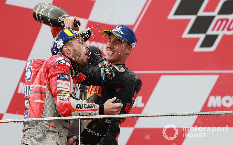 Podium: race winner Andrea Dovizioso, Ducati Team, third place Pol Espargaro, Red Bull KTM Factory Racing