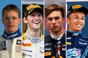 Sébastien Bourdais, Romain Grosjean, Pierre Gasly et Alexander Albon lorsqu'ils couraient chez DAMS