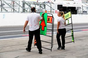 McLaren engineers with pit boards