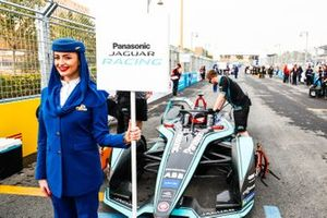 The Saudia Airlines representative holding the grid sign for Mitch Evans, Panasonic Jaguar Racing, Jaguar I-Type 3