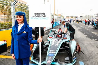 The Saudia Airlines representative holding the grid sign for Mitch Evans, Panasonic Jaguar Racing, Jaguar I-Type 3