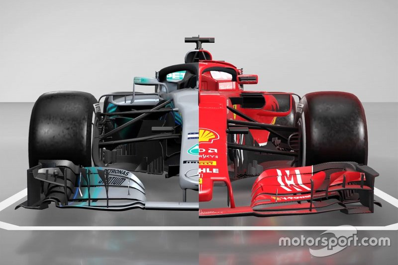Mercedes AMG F1 W09 and Ferrari SF71H comparison