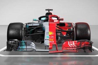 Mercedes AMG F1 W09 en Ferrari SF71H vergelijking