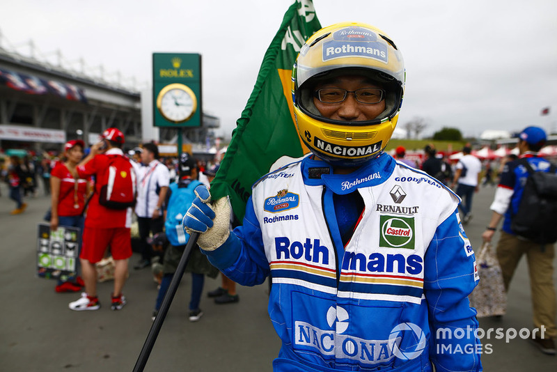 A fan dressed as Ayrton Senna