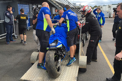 The crashed bike of Maverick Viñales, Team Suzuki MotoGP