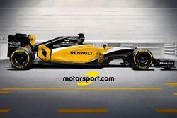 Artistieke impressie van kleurenschema Renault RS16