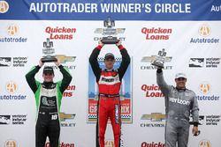 Podium: race winner Sébastien Bourdais, KV Racing Technology Chevrolet, second place Conor Daly, Dale Coyne Racing Honda, third place Juan Pablo Montoya, Team Penske Chevrolet