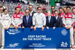 FIA Action for Road Safety photoshoot: FIA President Jean Todt, ACO President Pierre Fillon, actor B