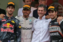 The podium,: Daniel Ricciardo, Red Bull Racing, second; Lewis Hamilton, Mercedes AMG F1, race winner; Sergio Perez, Sahara Force India F1, third