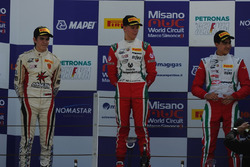 Podio carrera A-B: Mick Schumacher, Prema Powerteam, Raul Guzman Marchina, DR Formula, Juan Manuel Correa, Prema Powerteam