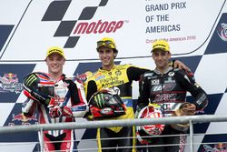 Podium: race winner Alex Rins, Paginas Amarillas HP 40, Kalex; second place Sam Lowes, Federal Oil Gresini Moto2, Kalex; third place Johann Zarco, Ajo Motorsport, Kalex