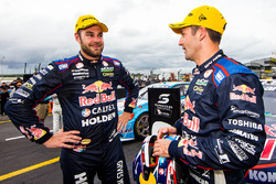 Race winner Jamie Whincup, Triple Eight Race Engineering Holden, second place Shane van Gisbergen, Triple Eight Race Engineering Holden