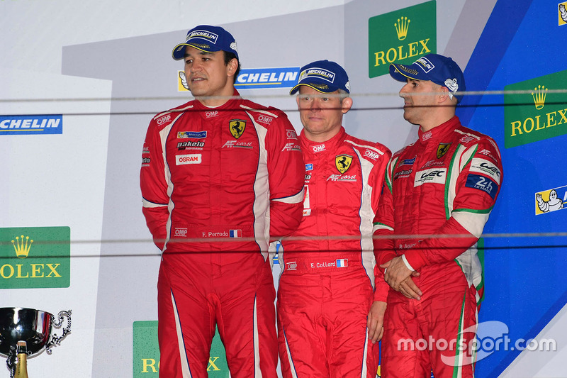 Podium GTE AM: third place #83 AF Corse Ferrari 458 Italia: Francois Perrodo, Emmanuel Collard, Rui