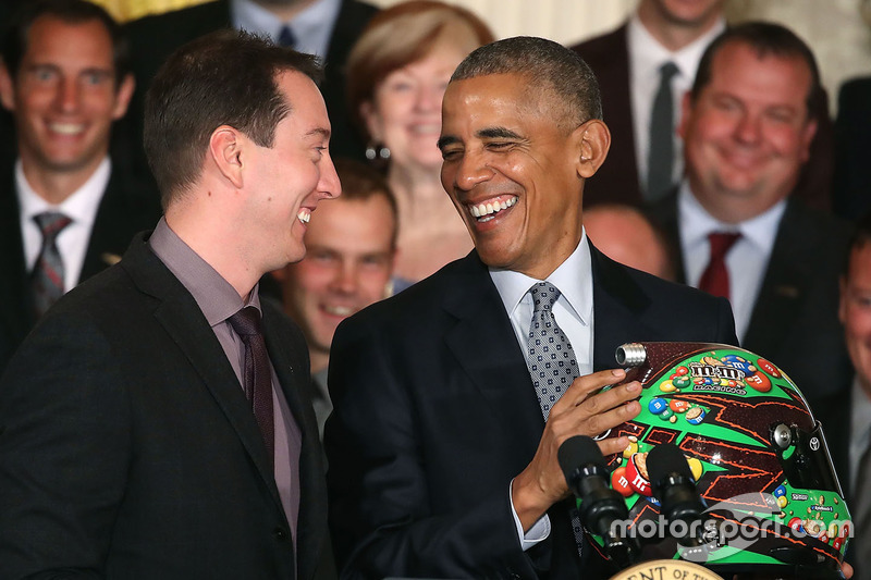 Kyle Busch, Joe Gibbs Racing Toyota meets with President Barack Obama at the White House