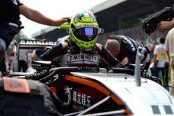 Sergio Perez, Sahara Force India F1 VJM09, sur la grille