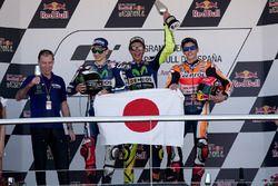 Podium: winner Valentino Rossi, Yamaha Factory Racing, second place Jorge Lorenzo, Yamaha Factory Racing, third place Marc Marquez, Repsol Honda Team
