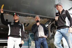 (L to R): Sergio Perez, Sahara Force India F1 with Damon Hill, Sky Sports Presenter and Nico Hulkenb