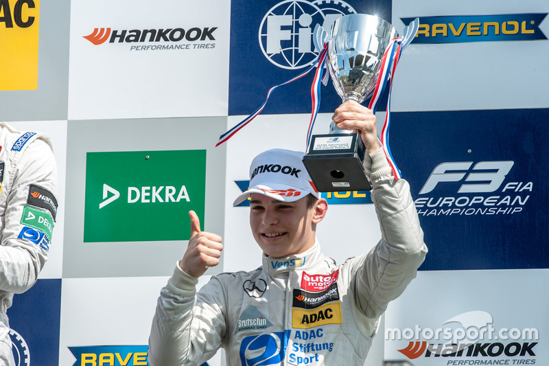 Podium, David Beckmann, kfzteile24 Mücke Motorsport Dallara F312 - Mercedes-Benz