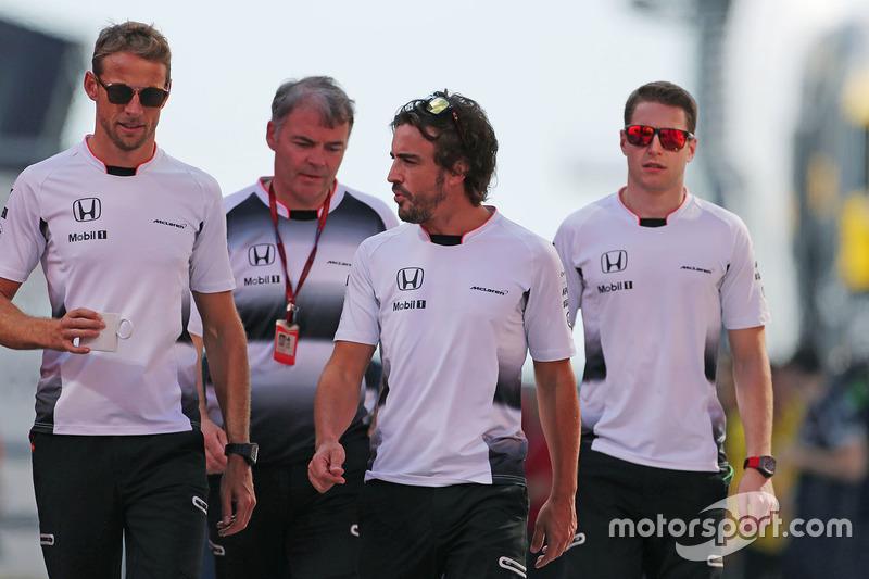 Jenson Button, McLaren Honda, Fernando Alonso, McLaren Honda and Stoffel Vandoorne, third driver, McLaren F1 Team