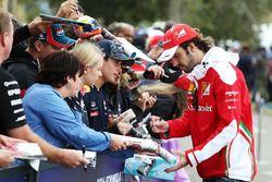 Jean-Eric Vergne, Ferrari Test and Development Driver signs autographs for the fans