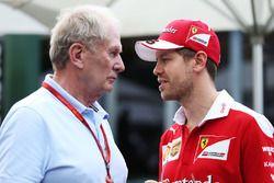Sebastian Vettel, Ferrari avec Dr Helmut Marko, consultant pour Red Bull
