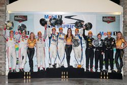 PC podium: winners Jon Bennett, Colin Braun, Mark Wilkins, CORE autosport, second place Robert Alon,
