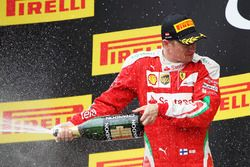 Kimi Räikkönen, Ferrari fête sa troisième place sur le podium