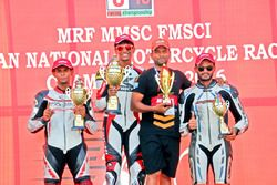 Podium Race 1: Race winner Kannan; second place K Jagan; third place Harry Sylvester