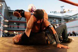 Johnny Herbert, Sky Sports F1 Presenter takes part in Lucha Libre wrestling in the paddock